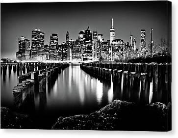 Manhattan Skyline At Night Canvas Print by Az Jackson
