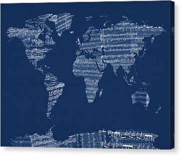 Map Of The World Map From Old Sheet Music Canvas Print by Michael Tompsett