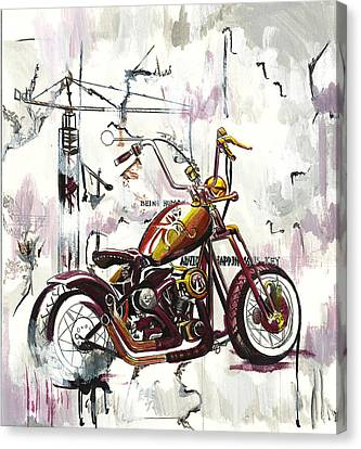 Mapped Motorcycle Canvas Print by Lauren Penha