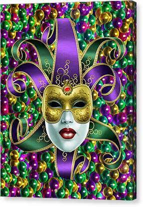 Canvas Print featuring the photograph Mardi Gras Mask And Beads by Gary Crockett