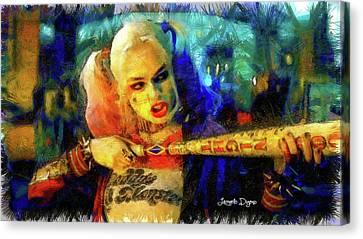 Machine Canvas Print - Margot Robbie Playing Harley Quinn - Pencil Style by Leonardo Digenio