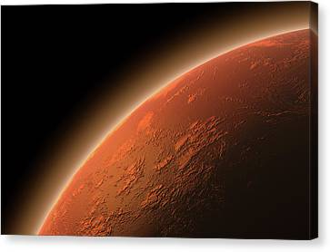 Mars In Space Canvas Print by Allan Swart