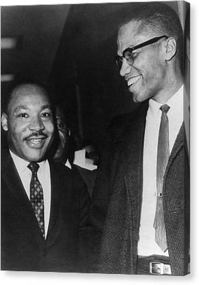 Martin Luther King Jr., And Malcolm X Canvas Print by Everett