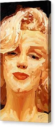 Canvas Print featuring the painting Marylin Monroe 3 by James Shepherd