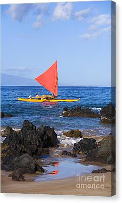 Maui Sailing Canoe Canvas Print by Ron Dahlquist - Printscapes