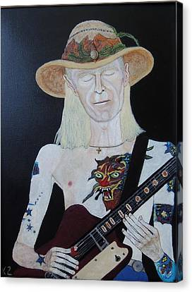Canvas Print featuring the painting Mean Town Blues.johnny Winter. by Ken Zabel