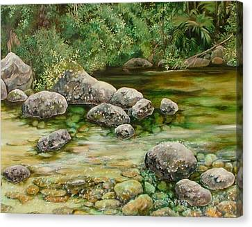 Meandering Stream Canvas Print by Val Stokes
