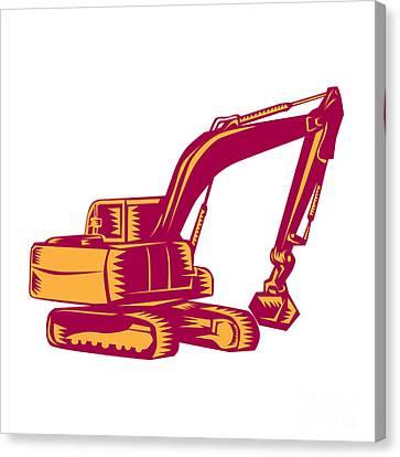 Mechanical Digger Excavator Woodcut Canvas Print