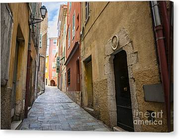 Medieval Street In Villefranche-sur-mer Canvas Print