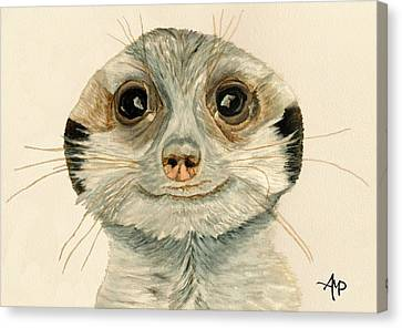 Meerkat Watercolor Canvas Print by Angeles M Pomata