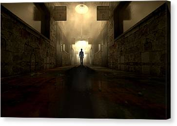 Mental Asylum With Ghostly Figure Canvas Print by Allan Swart
