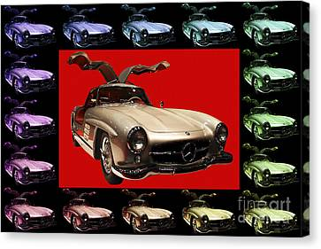 Mercedes 300sl Gullwing . Front Angle Artwork Canvas Print by Wingsdomain Art and Photography