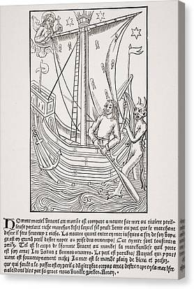 Merchant Vessel In A Storm. Facsimile Canvas Print