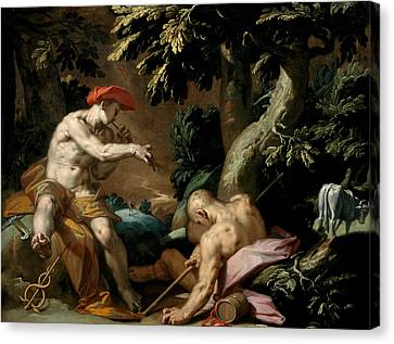 Mercury, Argus And Io Canvas Print by Abraham Bloemaert