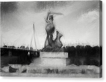 Mermaid Statue Canvas Print