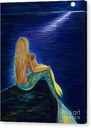Canvas Print featuring the painting Mermaids Sweet Babies Moon by Leslie Allen