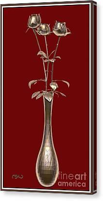 Metal Sculpture Of Roses 2 Canvas Print