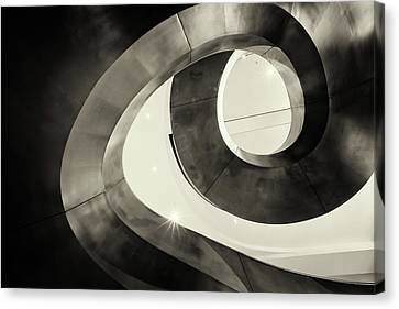 Abstract Metal Spiral Staircase Canvas Print by John Williams