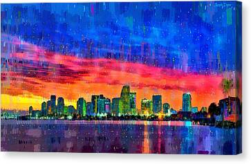 Built Canvas Print - Miami Skyline 120 - Da by Leonardo Digenio