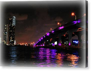 Miami Skyline At Night 2 Canvas Print by Amanda Vouglas
