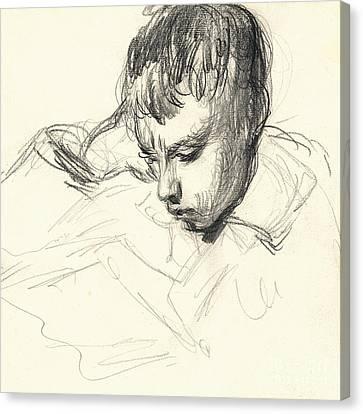 Michel Monet Reading Canvas Print