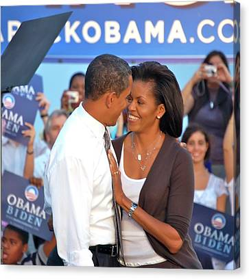 Michelle And Barack Canvas Print by Richard Pross