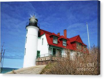 Canvas Print featuring the photograph Michigan Lighthouse by Gina Cormier