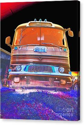 Mid Century Gm Greyhound Bus Abstract Canvas Print by Scott D Van Osdol