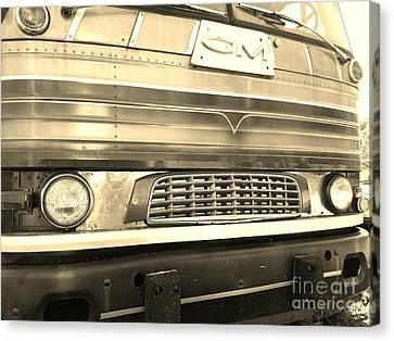 Mid Century Gm Greyhound Bus Front Grill Canvas Print by Scott D Van Osdol