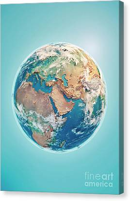 Middle East 3d Render Planet Earth Clouds Canvas Print