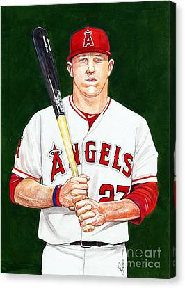 Mike Trout Canvas Print by Dave Olsen