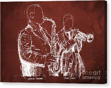 Musicos Canvas Print - Miles Davis And Charlie Parker On Stage, Original Sketch by Pablo Franchi