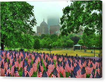 Foggy Day Canvas Print - Military Heroes Garden Of Flags - Boston Common by Joann Vitali