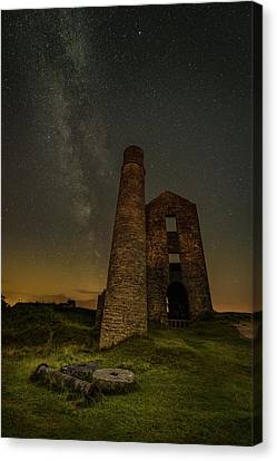 Milky Way Over Old Mine Buildings. Canvas Print by Andy Astbury