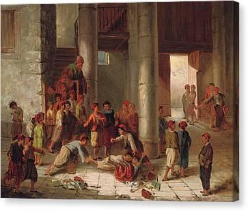 Mischief In The Schoolyard Canvas Print by Julius Joseph Gaspard Starck