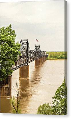 Mississippi River Bridge - Vicksburg Ms Digital Painting Canvas Print