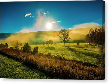 Canvas Print featuring the photograph Mist Rising by Steven Ainsworth