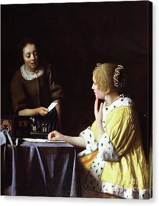 Ladies In Waiting Canvas Print - Mistress And Maid by Jan Vermeer