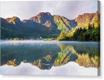 Canvas Print featuring the photograph Misty Dawn Lake by Ian Mitchell