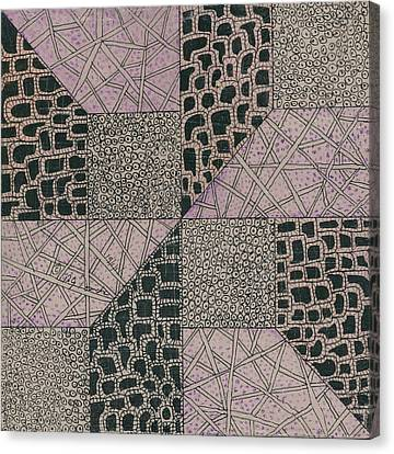 Mixed Tangle 2 Canvas Print by Bev Donohoe