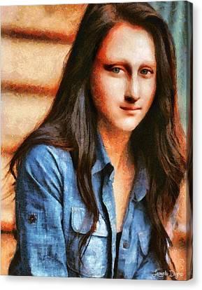 Modern Mona Lisa - Camille Style Canvas Print by Leonardo Digenio
