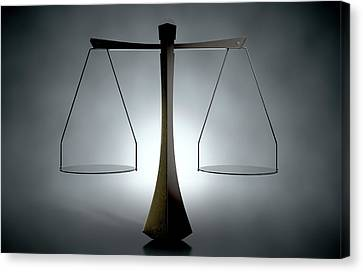 Modern Scales Of Justice Canvas Print by Allan Swart