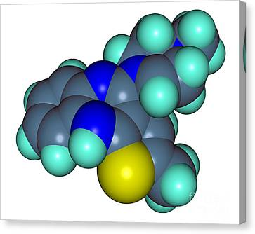 Bipolar Canvas Print - Molecular Model Of Olanzapine by Scimat