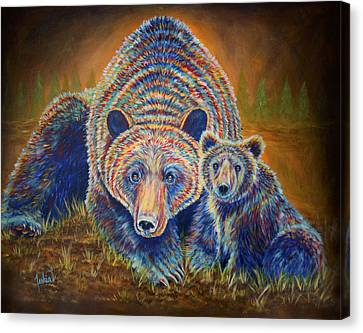 Momma Bear Canvas Print by Teshia Art