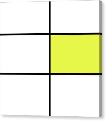 Mondrian Style Minimalist Pattern In Yellow Canvas Print