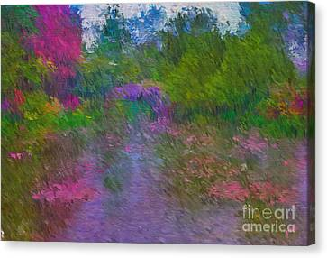 Canvas Print featuring the mixed media Monet's Lily Pond by Jim  Hatch