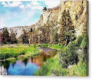 Canvas Print featuring the digital art Monkey Face Rock - Smith Rock National Park by Joseph Hendrix