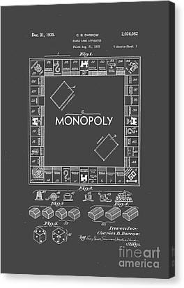 Shirt Canvas Print - Monopoly Original Patent Art Drawing T-shirt by Edward Fielding