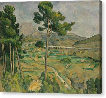 Mont Sainte-victoire And The Viaduct Of The Arc River Valley Canvas Print by Paul Cezanne