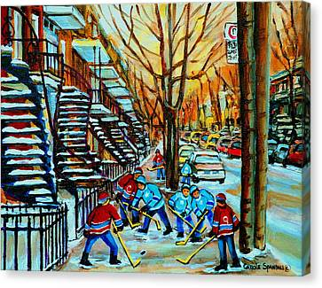 Montreal Hockey Paintings Canvas Print by Carole Spandau